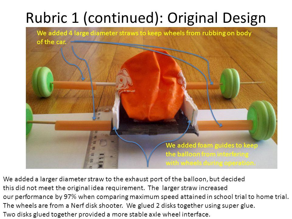 Rubric 1 (continued): Original Design Proof