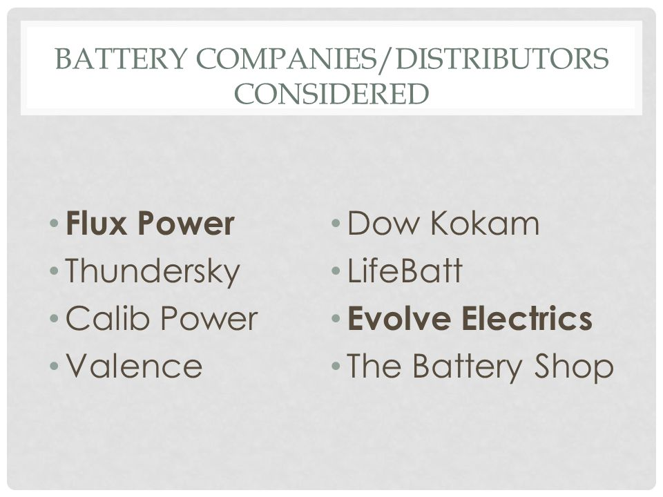 Battery Companies/Distributors Considered
