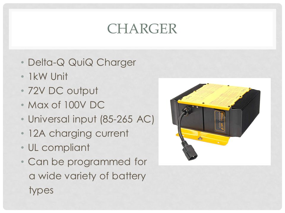 Charger Delta-Q QuiQ Charger 1kW Unit 72V DC output Max of 100V DC
