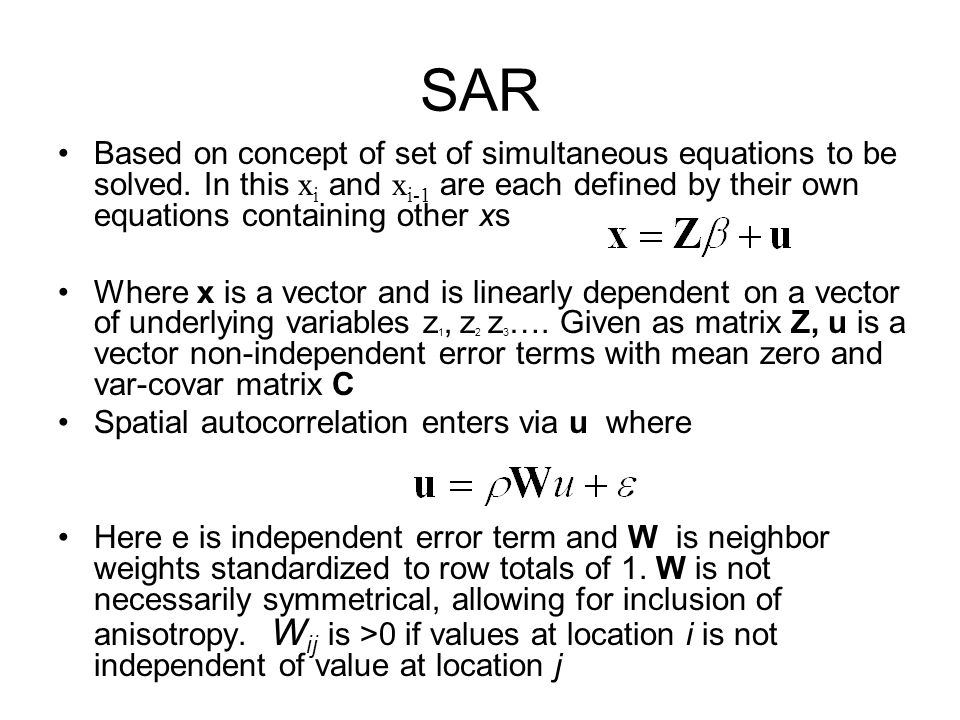 SAR Based on concept of set of simultaneous equations to be solved. In this xi and xi-1 are each defined by their own equations containing other xs.