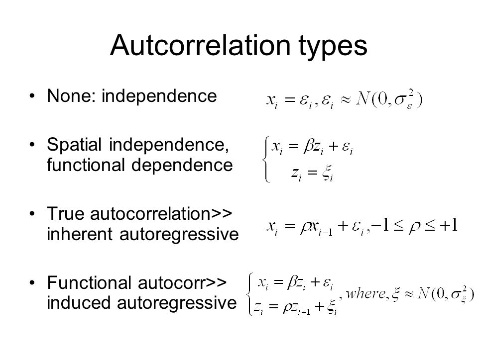 Autcorrelation types None: independence