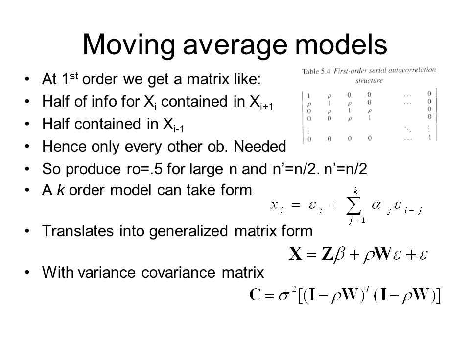 Moving average models At 1st order we get a matrix like: