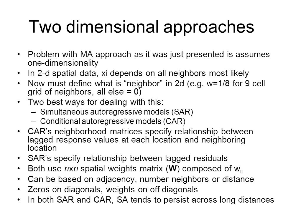 Two dimensional approaches
