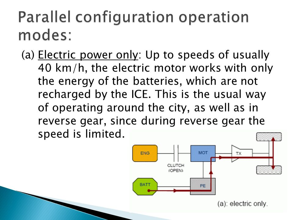 Parallel configuration operation modes: