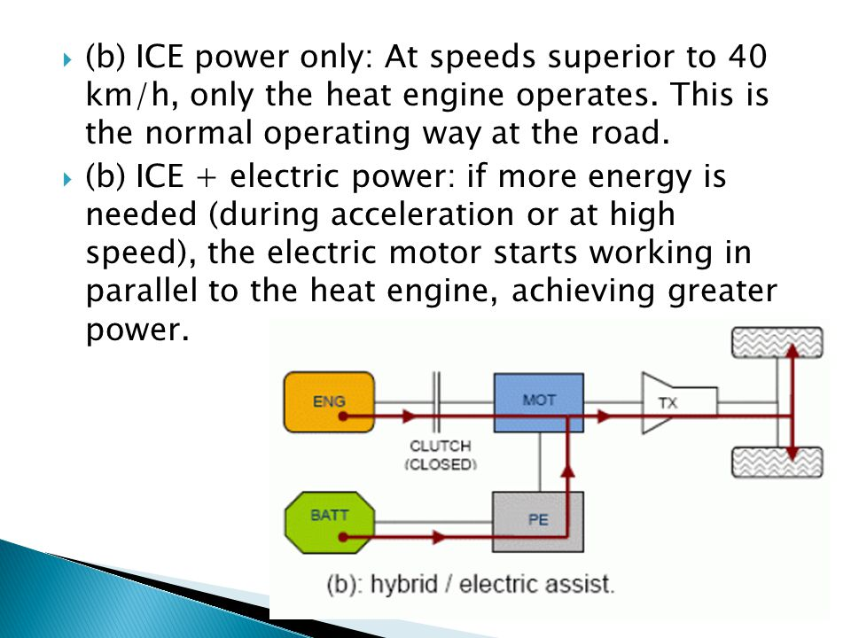 (b) ICE power only: At speeds superior to 40 km/h, only the heat engine operates. This is the normal operating way at the road.
