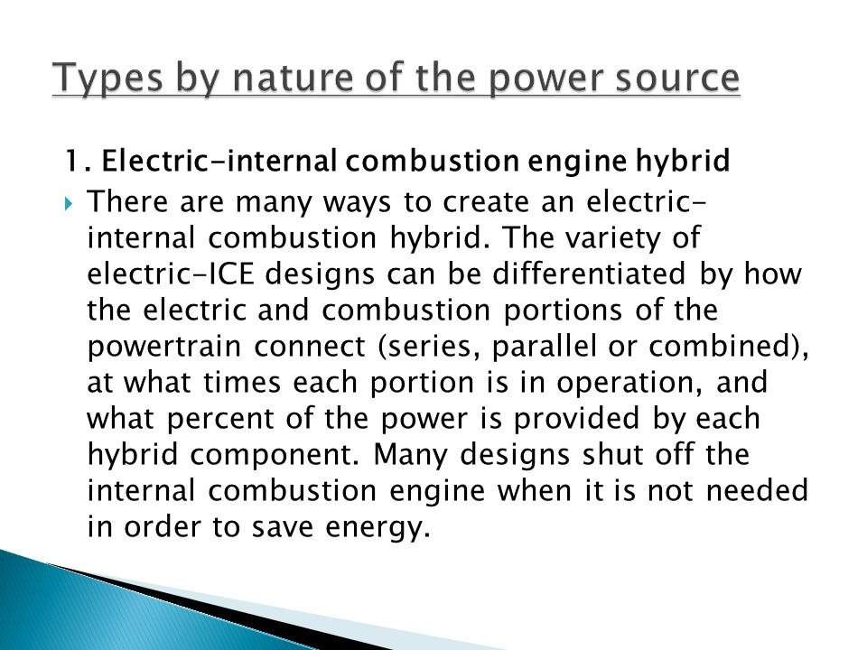 Types by nature of the power source