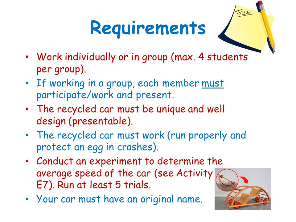 Requirements Work individually or in group (max. 4 students per group). If working in a group, each member must participate/work and present.