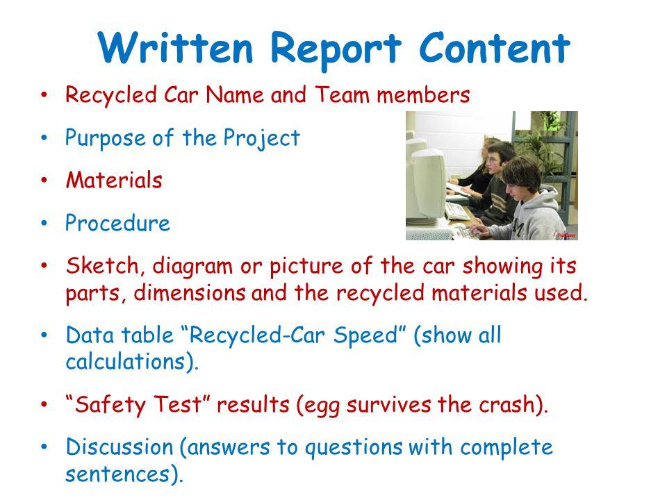 Written Report Content