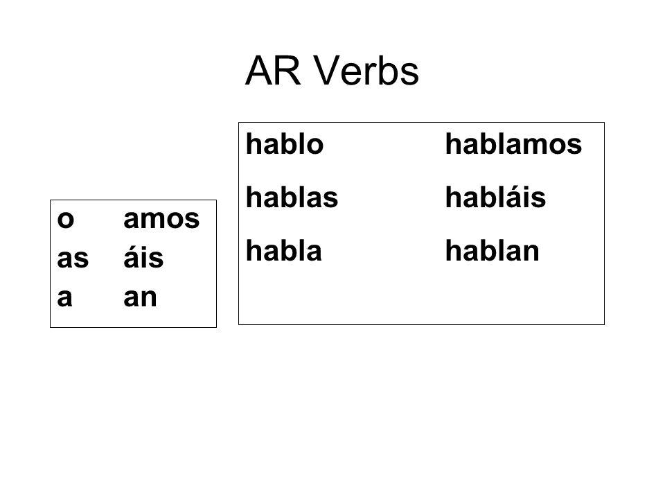 AR Verbs hablo hablamos hablas habláis habla hablan o amos as áis a an