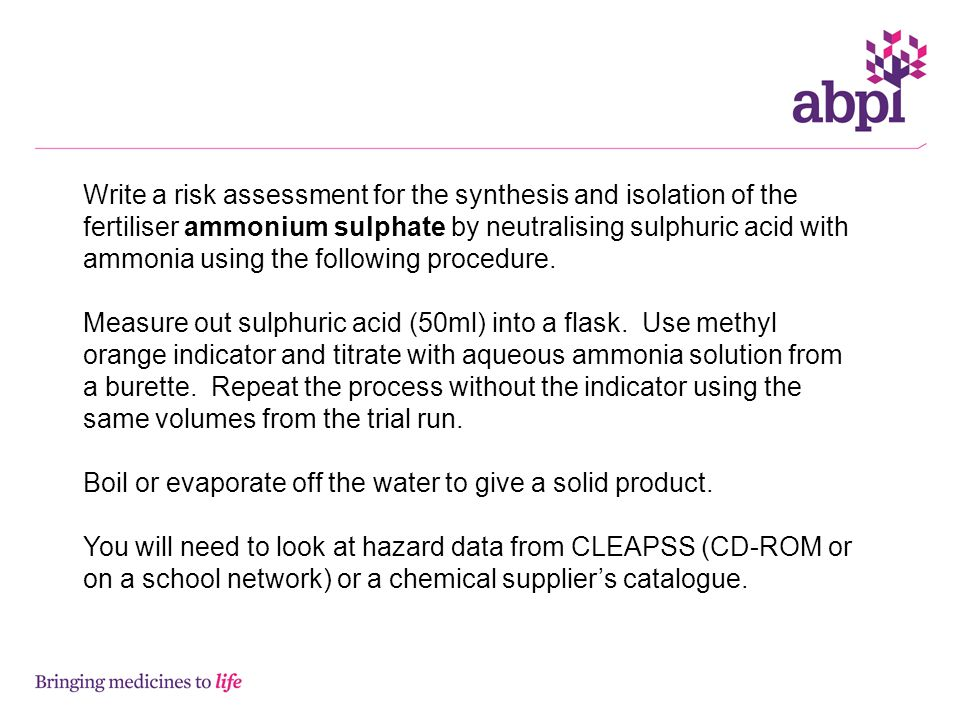 Write a risk assessment for the synthesis and isolation of the fertiliser ammonium sulphate by neutralising sulphuric acid with ammonia using the following procedure.