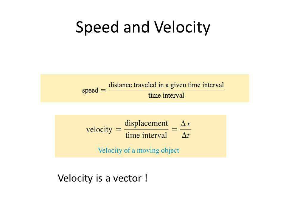 Speed and Velocity Velocity is a vector !