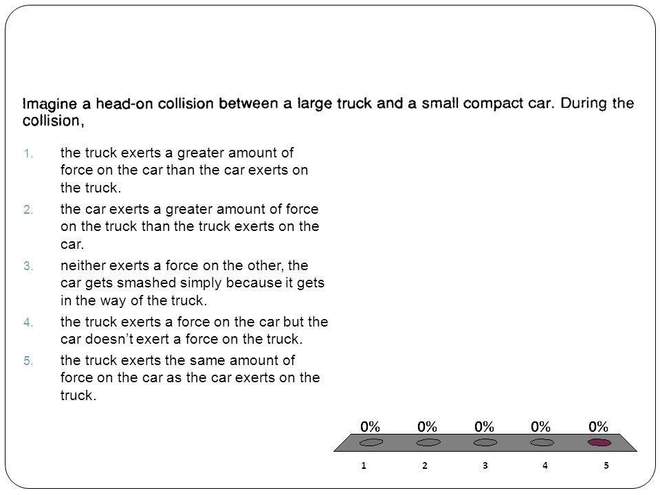 the truck exerts a greater amount of force on the car than the car exerts on the truck.