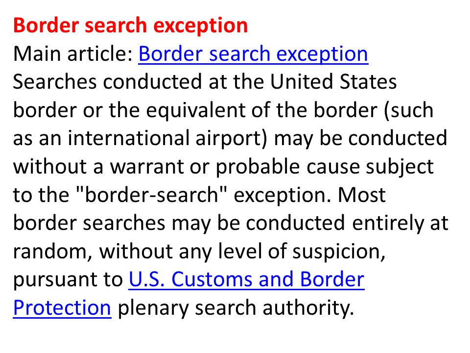 Border search exception