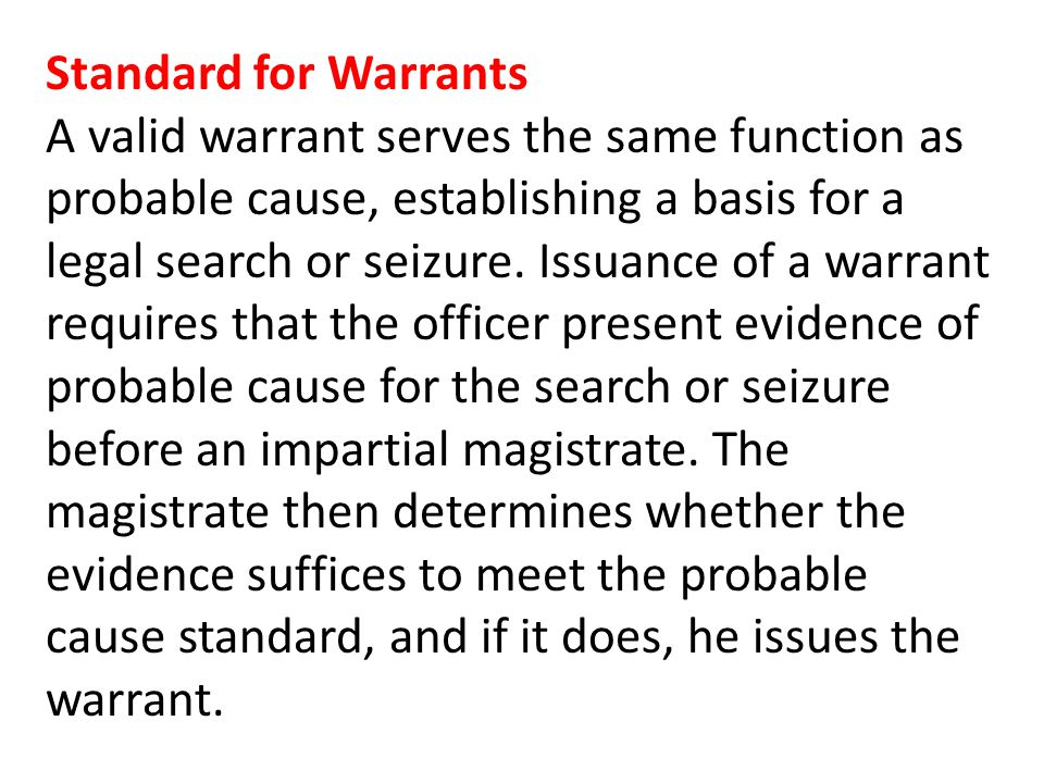 Standard for Warrants