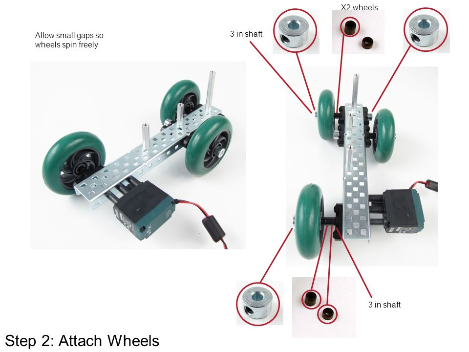Step 2: Attach Wheels X2 wheels Allow small gaps so 3 in shaft