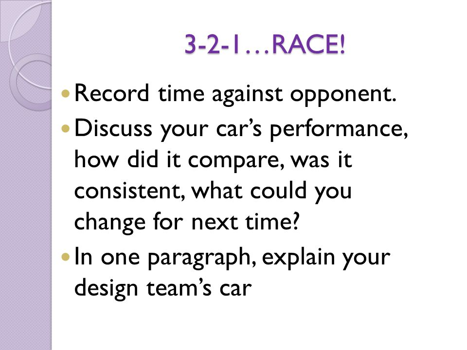 3-2-1…RACE! Record time against opponent.