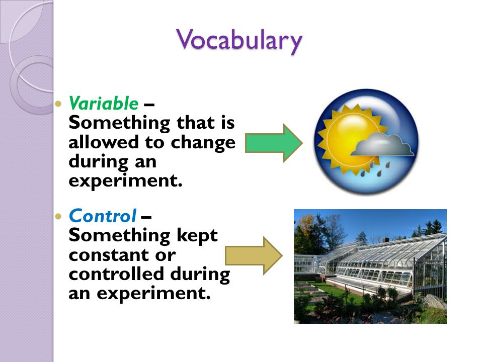 Vocabulary Variable – Something that is allowed to change during an experiment.
