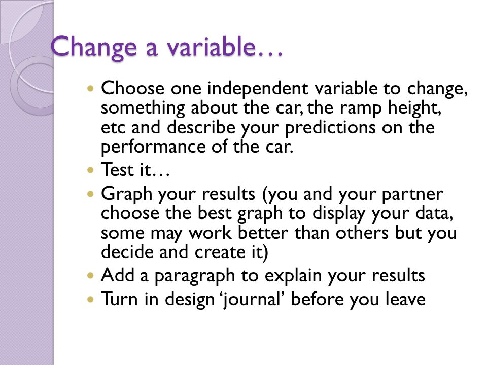 Change a variable…