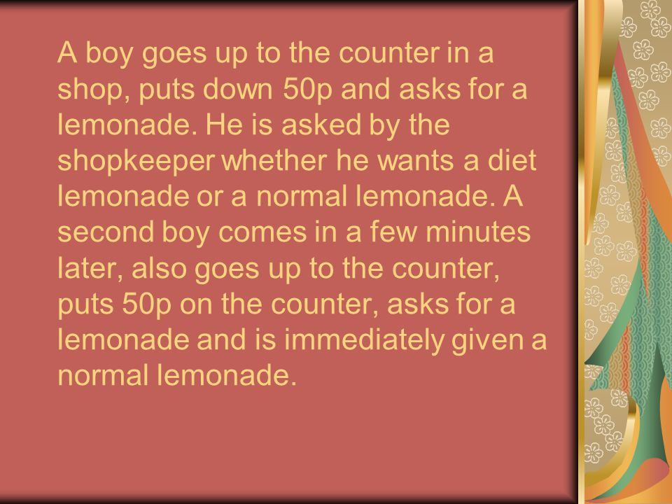 A boy goes up to the counter in a shop, puts down 50p and asks for a lemonade.