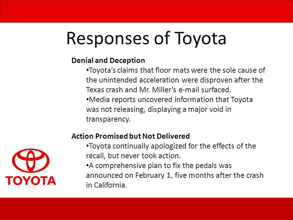 Responses of Toyota Denial and Deception