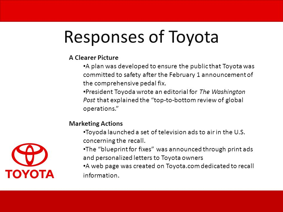 Responses of Toyota A Clearer Picture