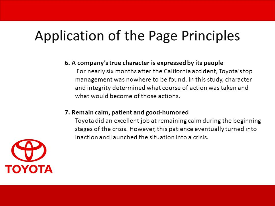 Application of the Page Principles