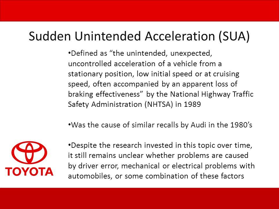 Sudden Unintended Acceleration (SUA)