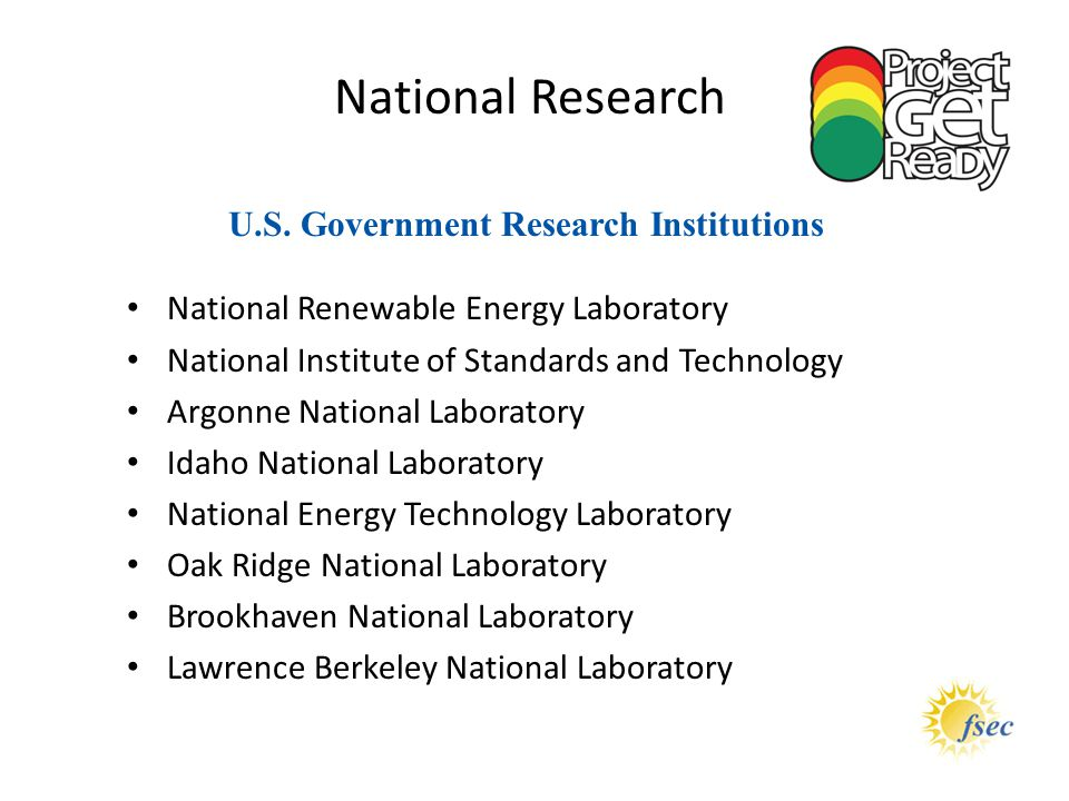 U.S. Government Research Institutions