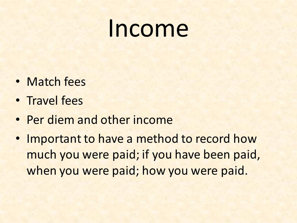 Income Match fees Travel fees Per diem and other income