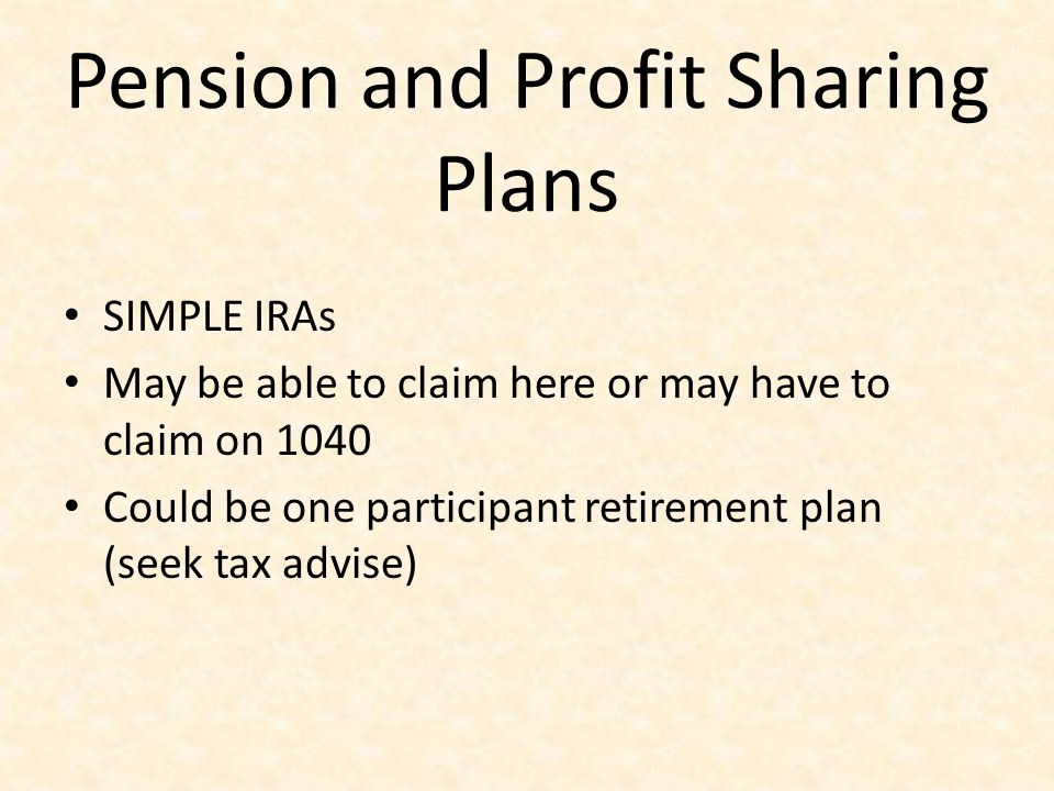 Pension and Profit Sharing Plans