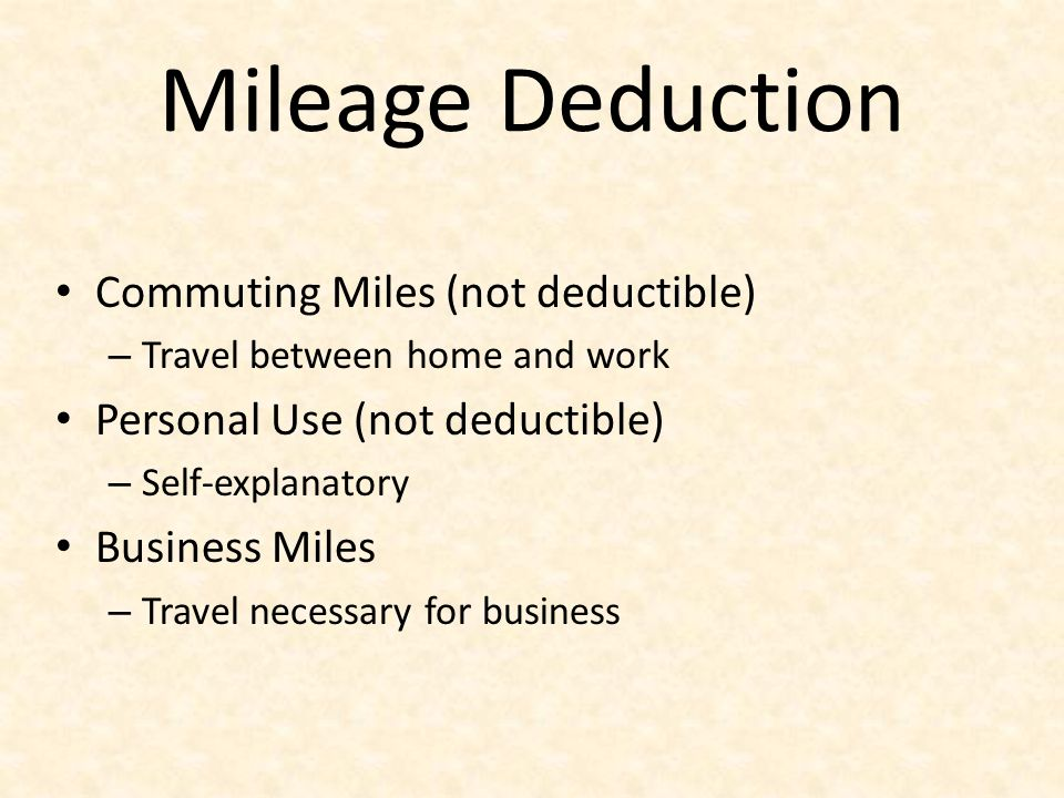 Mileage Deduction Commuting Miles (not deductible)