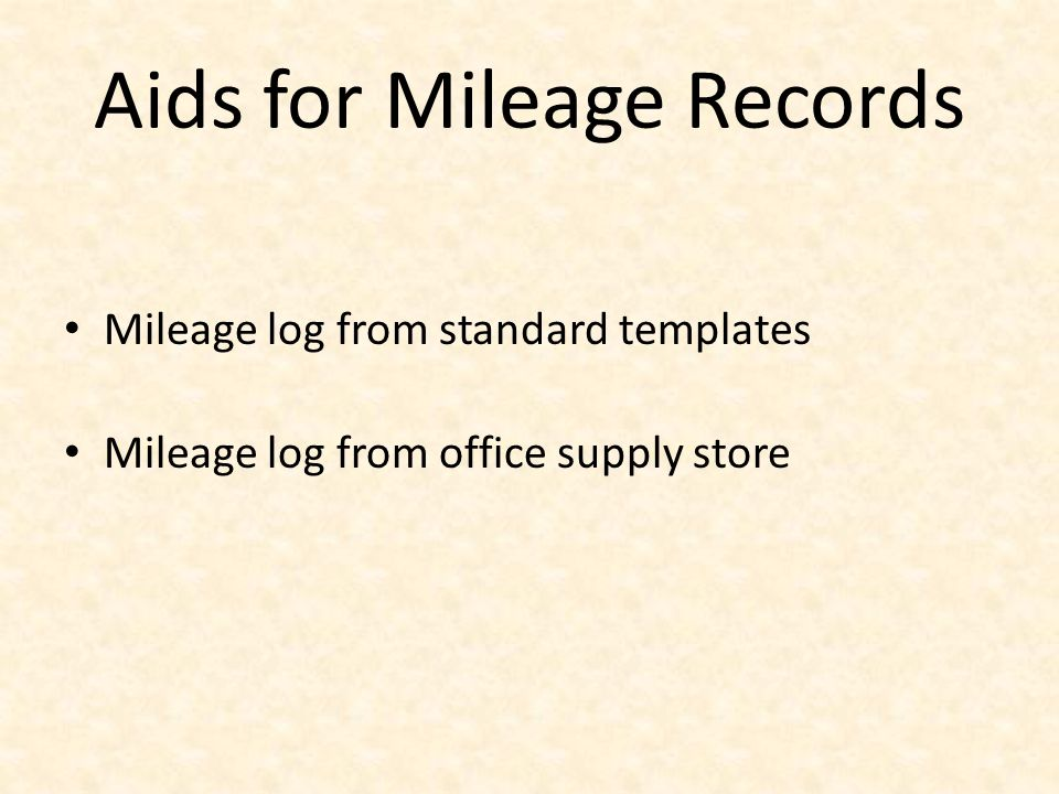 Aids for Mileage Records