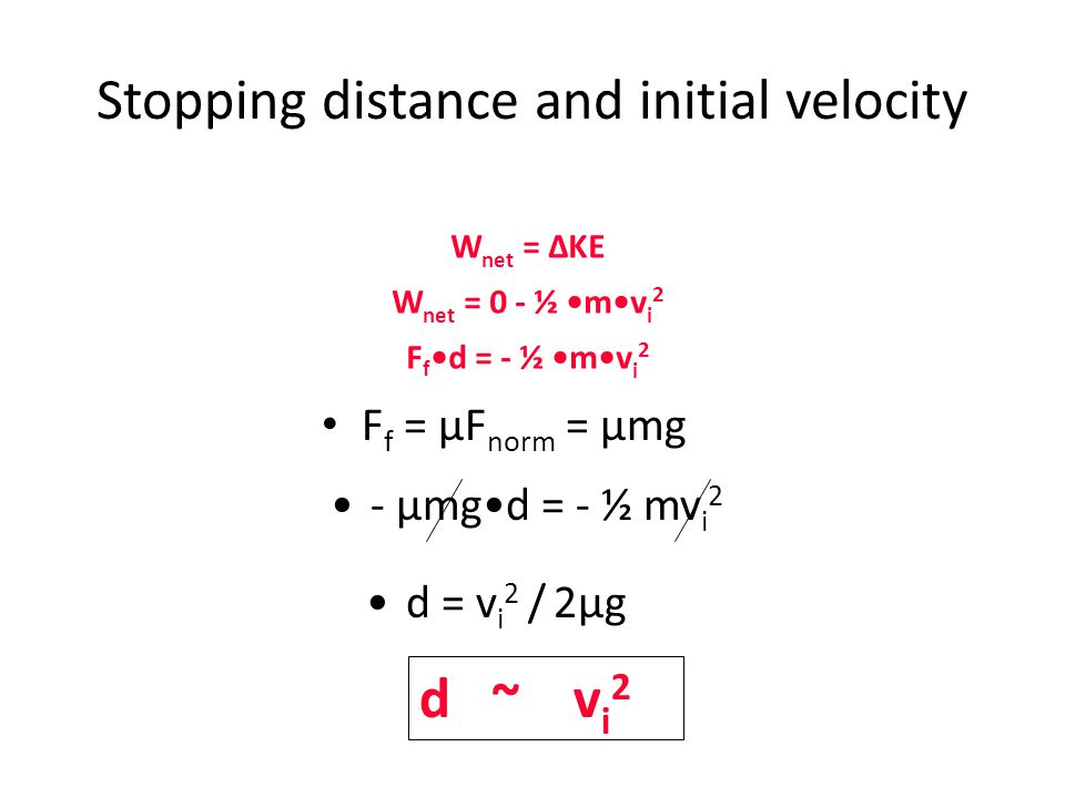 Stopping distance and initial velocity