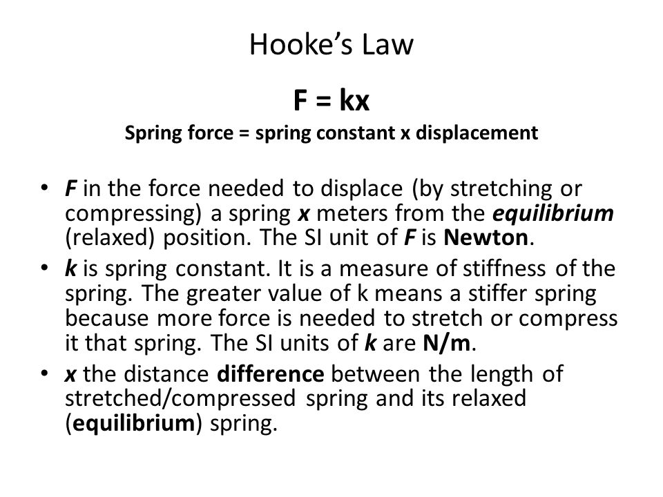Spring force = spring constant x displacement