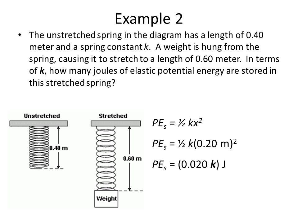 Example 2 PEs = ½ kx2 PEs = ½ k(0.20 m)2 PEs = (0.020 k) J