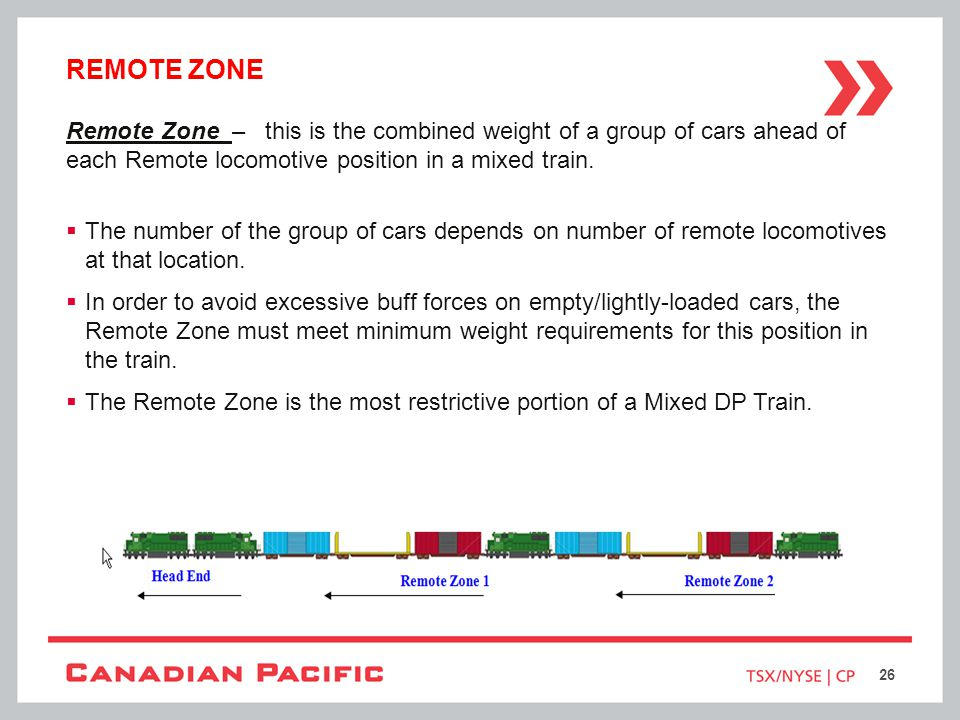 Remote zone Remote Zone – this is the combined weight of a group of cars ahead of each Remote locomotive position in a mixed train.