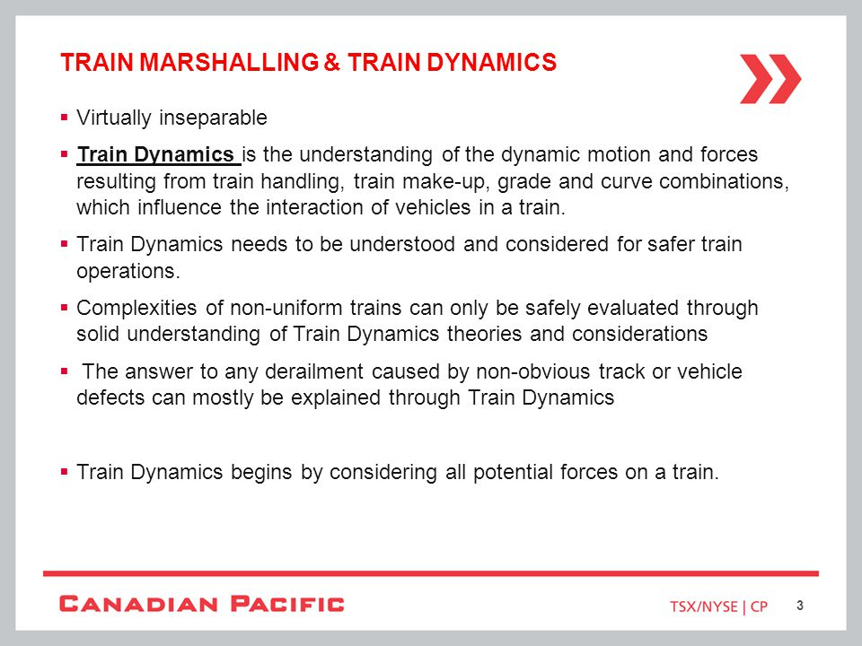 Train marshalling & train dynamics