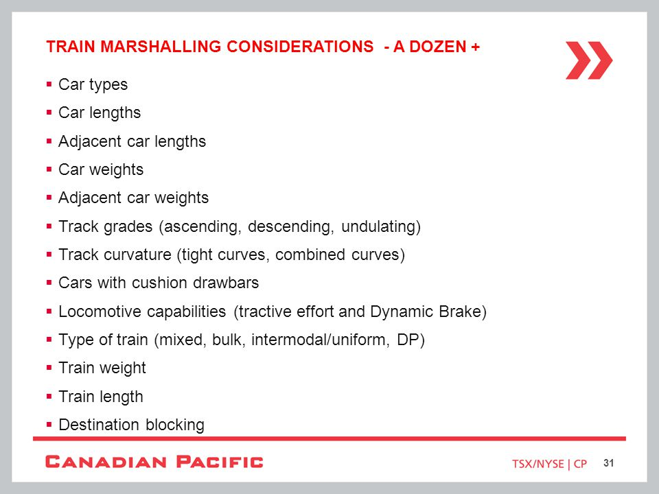 Train marshalling considerations - a dozen +