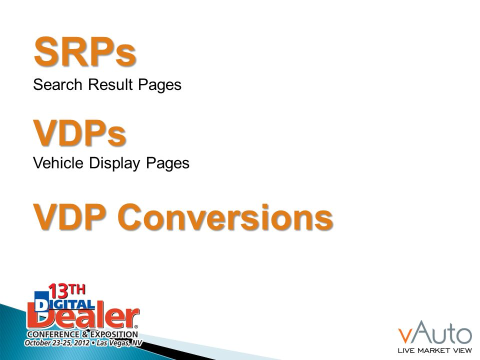 SRPs Search Result Pages VDPs Vehicle Display Pages VDP Conversions