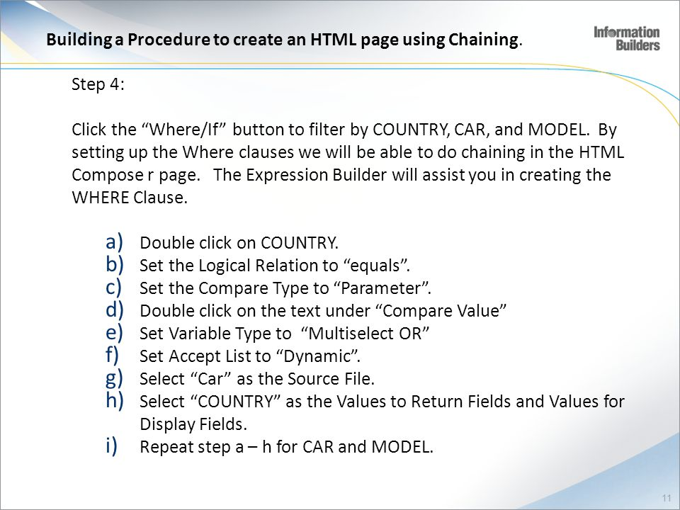 Building a Procedure to create an HTML page using Chaining.