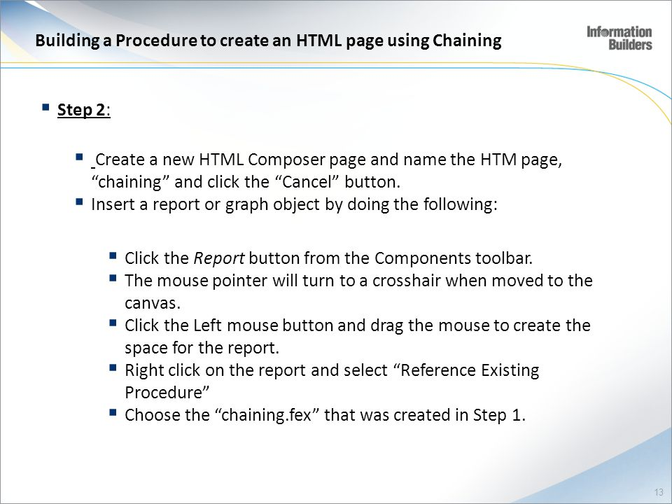 Building a Procedure to create an HTML page using Chaining
