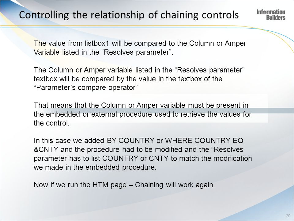 Controlling the relationship of chaining controls