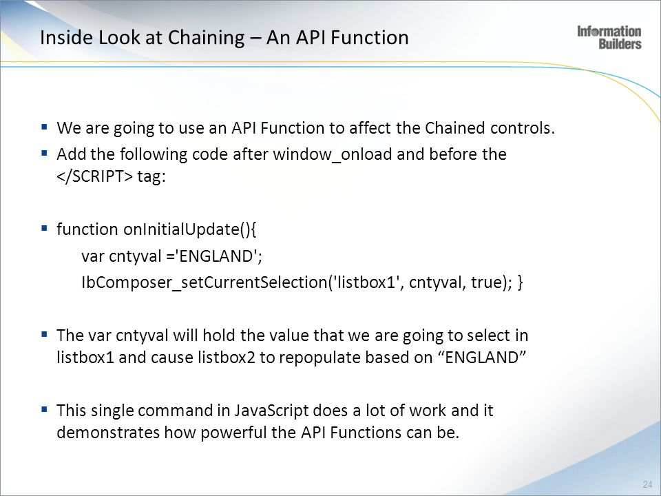 Inside Look at Chaining – An API Function
