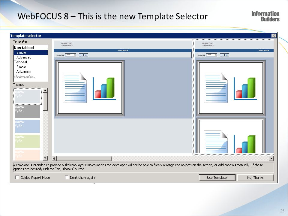 WebFOCUS 8 – This is the new Template Selector