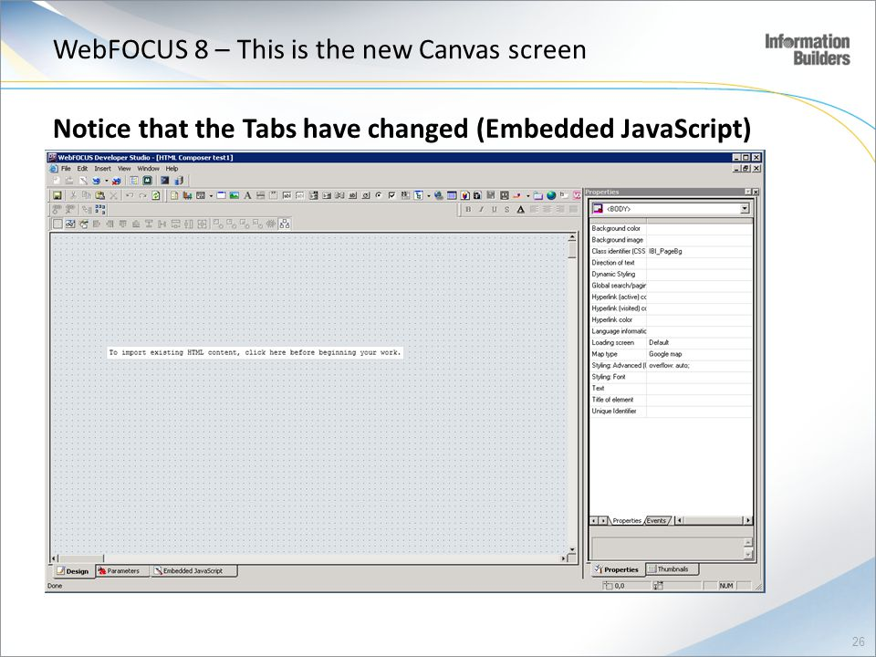 WebFOCUS 8 – This is the new Canvas screen