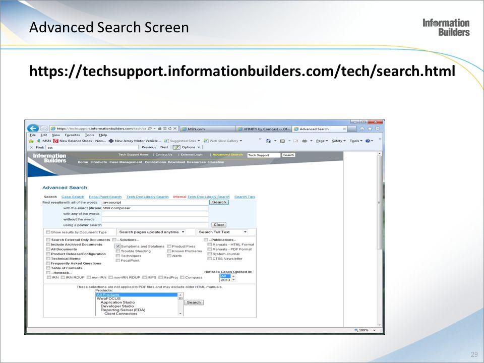 Advanced Search Screen