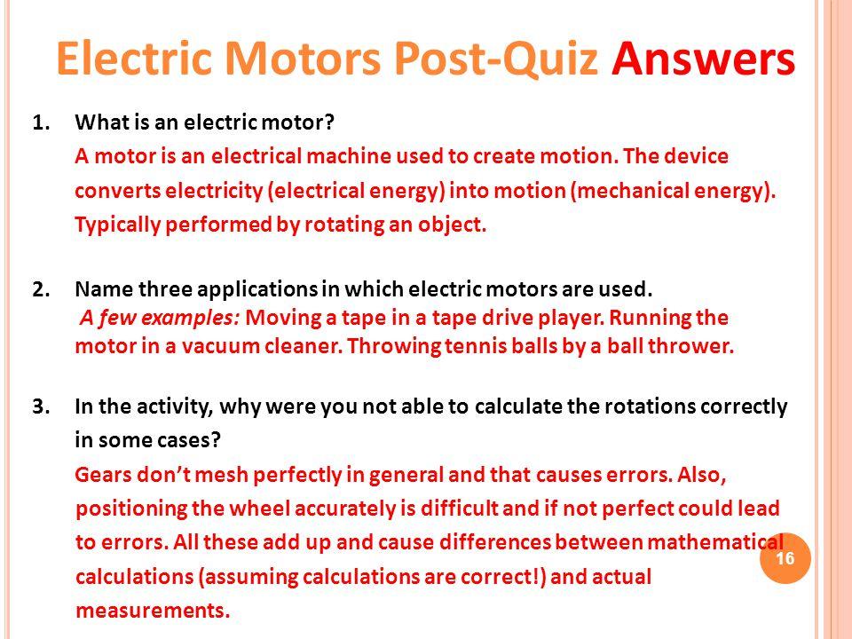 Electric Motors Post-Quiz Answers