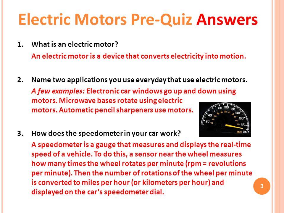 Electric Motors Pre-Quiz Answers