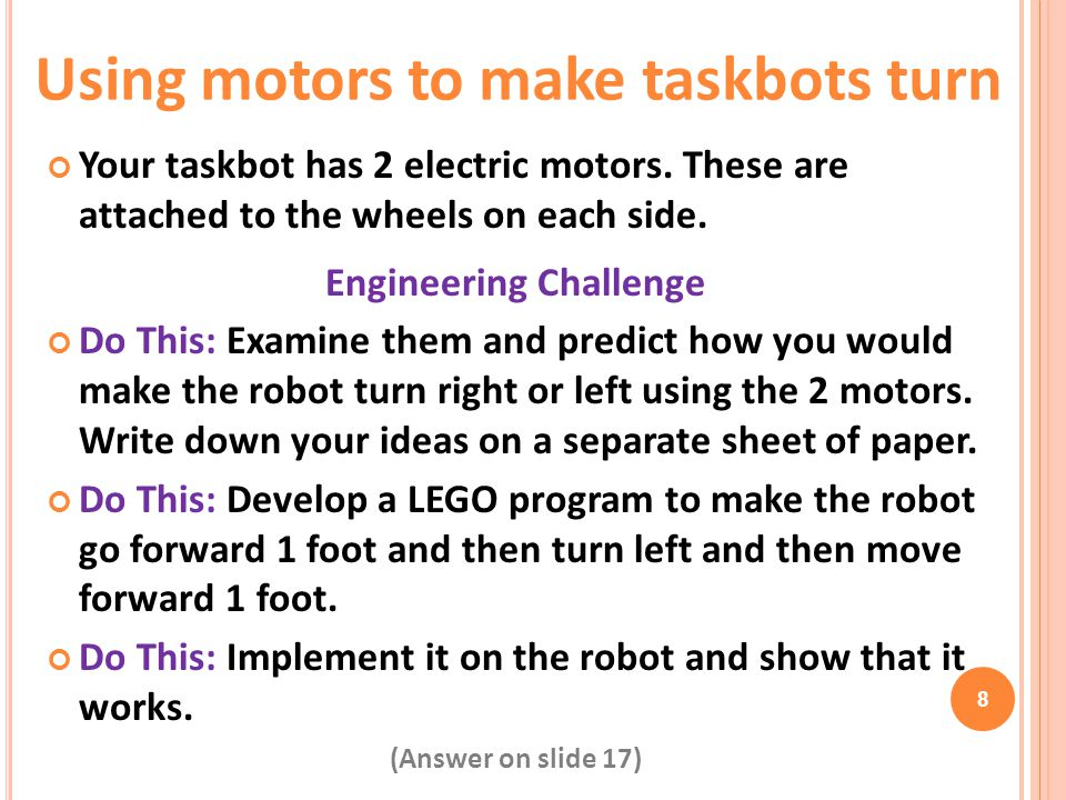 Using motors to make taskbots turn Engineering Challenge