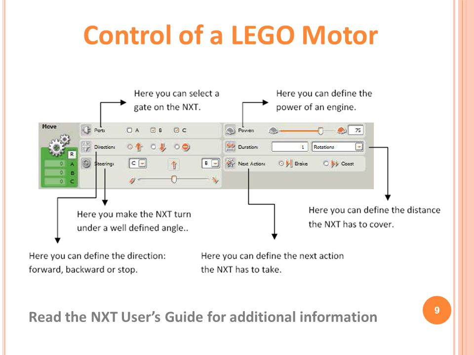 Control of a LEGO Motor Read the NXT User's Guide for additional information